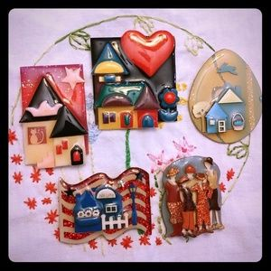 5 Funky House & Woman Pins by Lucinda